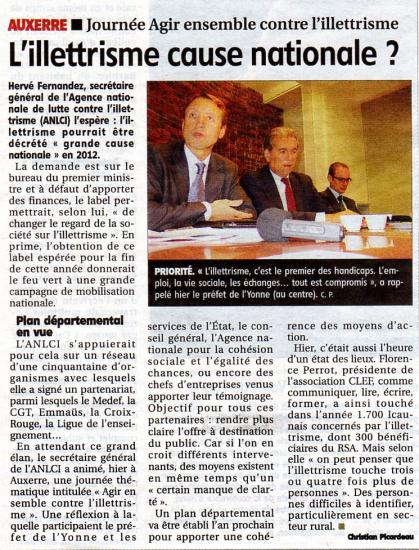 Article de l'Yonne Républicaine -10.11.11